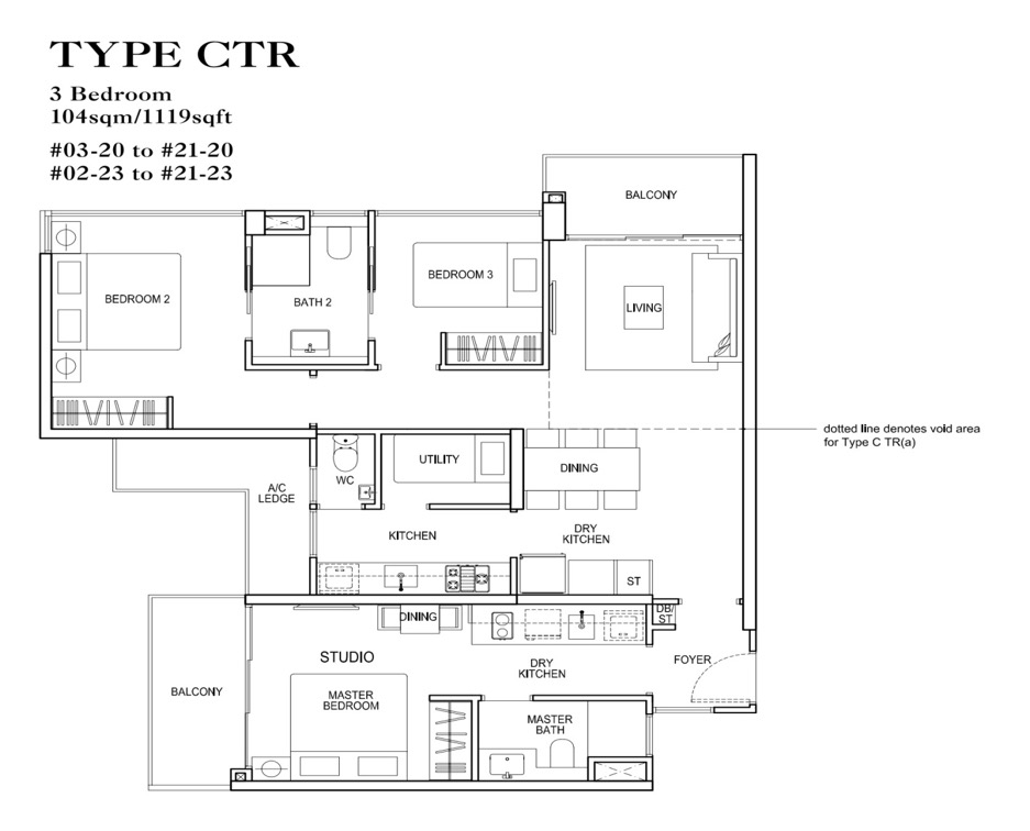 3 Bedroom dual key in Rivertrees Residences